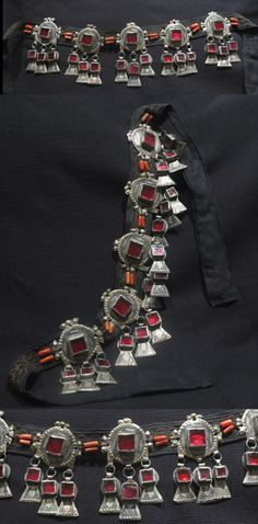 Morocco | Berber Frontal Parure – IDA OU NADIF – Anti-Atlas Mountains | Silver, red glass, coral | ca. mid 20th century