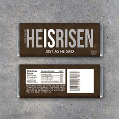 Easter HE IS RISEN Candy Bar Wrappers – Great for Easter baskets and spreading the good news. By Studio 120 Underground, $5.