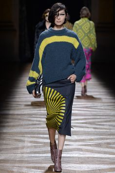 Dries Van Noten fall '14: slouchy sweater & midi skirt, both in gray with acid green accents