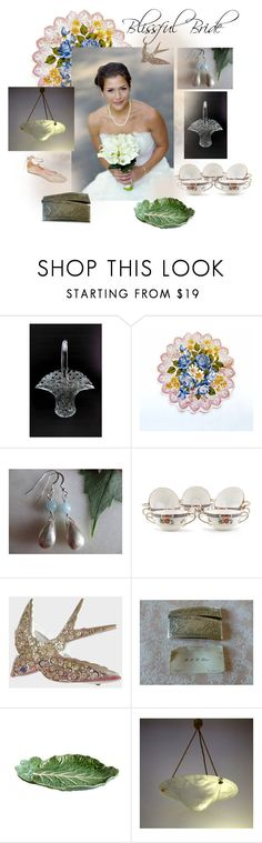 """""""Blissful Bride"""" by seasidecollectibles ❤ liked on Polyvore featuring Handle, Noritake, Avon, Bordallo Pinheiro, Summit by White Mountain, vintage, handmade, Weddinggifts, polyvoreset and etsyevolution"""