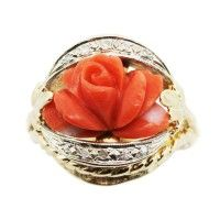 Vintage Carved Rose Design Coral and Diamond Cocktail Ring
