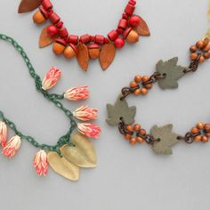 Celluloid Wood Leaves Necklace. Leather. by pinguim on Etsy, $100.00