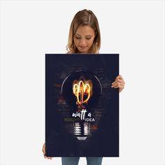 Metal Print - Watt a Bright Idea Poster Prints, Bright, Metal, Books, Beautiful, Art, Art Background, Libros, Book