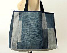 Ooak Large Denim Tote Bag No.19