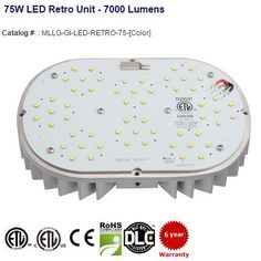 75W LED Retro Unit - 7000 Lumens: Type	LED Retro Kits, Wattage:	75W, CRI: 75+, #Lumens:	7000, Lumen Per Watt: 95, Color Temperature: 4100K | 4500K | 5000K | 5500K, Beam Angle: 115°, Optics: 15° | 30° | 45° | 60°, Life Hours: 100,000 | #ledlighting