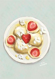 Strawberry dumplings Czech food  Illustration  #foodart #jahodoveknedliky #stawberrydumplings #kresba #malba #malovani #jidlo