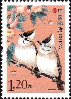 Chinese postage stamp ... two birds ... card making  inspiration ...