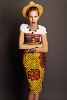 African wax fabric skirt