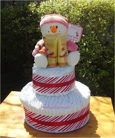 Diaper Cakes and Baby Shower gifts: Christmas Diaper Cake
