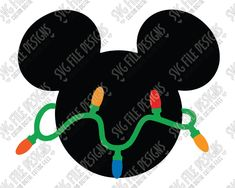 Mickey Mouse Christmas Lights Cut File Set in SVG, EPS, DXF, JPEG, and PNG