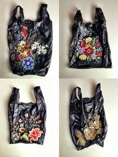 Nicolette de la Brown - embroided plastic bags