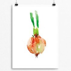 Beautifully painted with Watercolor  Onion Series 001  Pear Tea Paperie Vegetable Onion Series  INSTANT DIGITAL PRINT   No Physical Paintings or