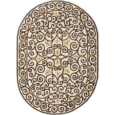 Safavieh Hand-hooked Chelsea Irongate Ivory Wool Rug (7'6 x 9'6 Oval)