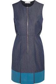 Richard NicollLeather-paneled denim dress