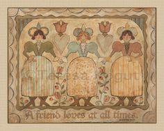 "©Teresa Kogut ""a-friend-loves"" Original Paintings, Original Art, Colonial Art, Angel Art, Early American, Christian Art, A 17, Friends In Love, Illustrator"