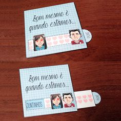 """DIY: Cartão deslizante """"juntinhos"""""""