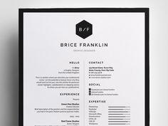 Resume/CV - 'Brice' - a simple, vertical design which includes Resume/CV and Cover Letter easy to edit templates. Cv Design, Resume Design, Brochure Design, Design Ideas, Layout Design, Graphic Design, Design Inspiration, Best Resume, Resume Cv