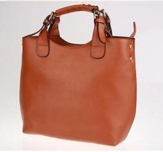 Keral Frauen Einfache Reine Farbe Schnalle Griff Handtasche Schultertasche Aus Leder_Braun: Amazon.de: Schuhe & Handtaschen