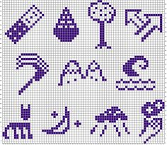 Glitchian Giant symbols for cross-stitching (by Melismata Rookwood / bewildery on Flickr)