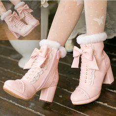 Pink/apricot bowknot heels boots SE10700