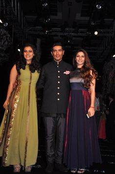 Kajol, Manish Malhotra and Tanisha Mukherjee at Manish Malhotra Lakme Fashion Week Summer Resort 2014