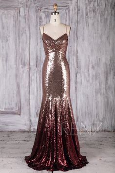 0828838488d Bridesmaid Dress Rose Gold   Wine Ombre Sequin Dress Wedding Dress Long  Spaghetti Strap Prom Dress Ruched V Neck Bodycon Party Dress(HQ697)