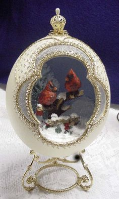 Carved Ostrich Egg with Winter Cardinals