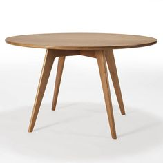 """Round Dining Table, Mid Century Modern Kitchen Table, Solid Cherry Wood, Circular Pedestal Table, Tapered Legs, Cafe Table, Circle, """"Sister"""""""
