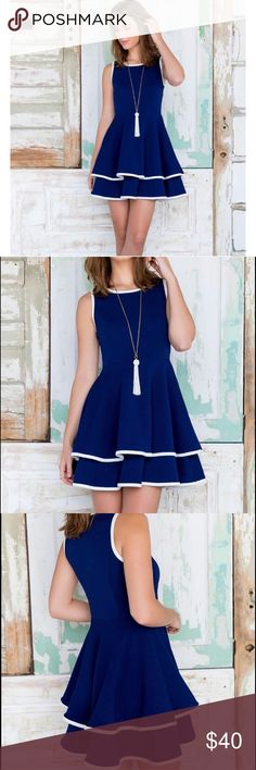 Francesca's navy skater dress NWT Francesca's navy blue double layer skater dress with white trim made of a thick textured material. Available in size medium and large Francesca's Collections Dresses