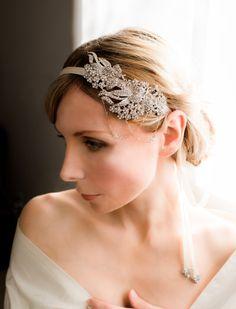 SALE - Bridal Rhinestone Headband, Bridal Ribbon Headband, 1920s Wedding Headband, Art Deco Bridal Headband, Vintage Style - AVA. $130.00, via Etsy.