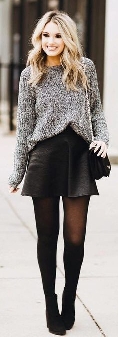 Grey Knit / Black Leather Skirt / Black Tights / Black Booties #SkirtsOutfits
