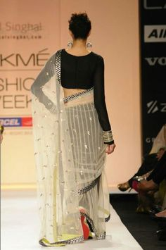 Payal singhal creation #black #blouse #white #sari