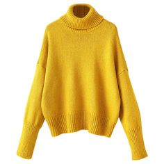 Roll Neck Oversized Jumper (1 090 UAH) ❤ liked on Polyvore featuring tops, sweaters, roll neck sweater, yellow sweater, jumpers sweaters, rollneck sweaters and yellow top