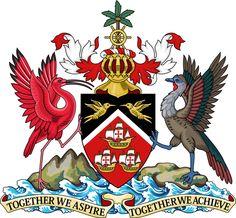 Brasão de armas de Trinidad e Tobago. Coat of arms of Trinidad and Tobago Port Of Spain, Caribbean Culture, Caribbean Sea, Caribbean Jobs, Trinidad Caribbean, Caribbean Recipes, Trinidad E Tobago, Trinidad Carnival, Rio Carnival
