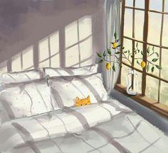 Illustration bedroom apartment window art cat