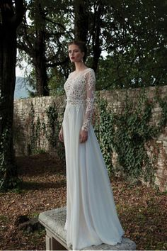2015 Bateau Wedding Dresses A Line Chiffon With Applique And Sash Sweep Train USD 189.99 EPP3LQCP5Z - ElleProm.com