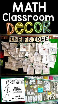 In this post are lots of math classroom decoration ideas for middle and high school math classrooms, including links to a bunch of free math classroom decor printables. You'll see inspirational math posters, math word wall ideas, math bulletin boards and math classroom photos from teachers. Math Posters Middle School, Middle School Decor, Middle School Classroom, Future Classroom, Math Classroom Decorations, Science Classroom, Classroom Ideas, Special Education Math, Teaching Posters