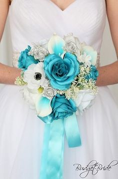 Custom Made Wedding flowers to match Davids Bridal colors. Design the perfect brides bouquet for yourself, your groom and your bridesmaids! Bridesmaid Bouquet White, Rose Wedding Bouquet, White Wedding Bouquets, Bride Bouquets, Carnation Bouquet, Bridesmaids, Turquoise Wedding Flowers, Wedding Colors, Wedding Ideas