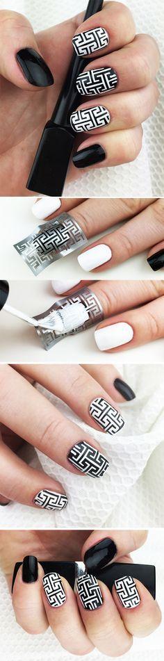 "Nail Stencils design ""Sharp Lines"" by Unail $5 #nails #nailart #naildesign #easynail #nailstencil #nailpattern #nailvinyl"