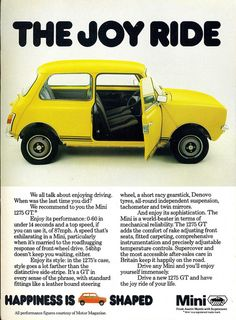 1977 magazine advertisement for the Mini Audi, Porsche, Minis, Classic Mini, Classic Cars, Benz, Mini Clubman, Car Posters, Mini Cooper S
