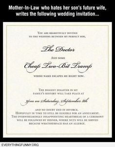 wedding invitation: future mother in law hates future daughter in law... Ya Think!?!