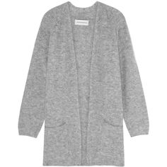 By Malene Birger Belinta brushed ribbed-knit cardigan (€335) ❤ liked on Polyvore featuring tops, cardigans, jackets, grey, cardigan top, ribbed knit top, gray cardigan, double layer top and oversized cardigan