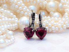 Swarovski Heart Lever Back Earrings 8mm Small by DKSJewelrydesigns