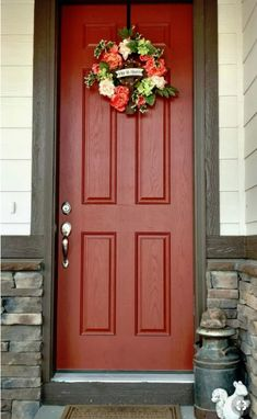 Cream And Chocolate Brown House With Burnt Orange Door And Coral Colored Spring Wreath Front Door Color For Tan House With Black Shutters Front Door Colors For Off White House Front Door Color For Blu Painted Exterior Doors, Exterior Door Colors, Front Door Paint Colors, Painted Front Doors, Exterior Paint, Brown Front Doors, Orange Front Doors, Best Front Doors, Tan House