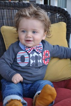 Fan Photo one 1st Birthday Shirt for boy with dots, skulls and grey argyle for Pirate Hip All Boy Party