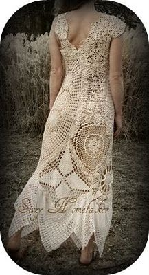 doilies and a tablecolth into a one of a kind dress