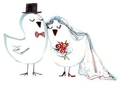 This would look adorable as a DIY wedding card... illustration by Sujean Rim