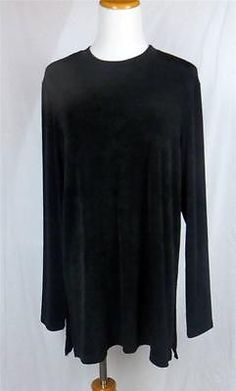 Chicos Private Women Top Shirt Acetate Knit Black Crew Long Slv Sz 2 12 14 Large | eBay $21.95