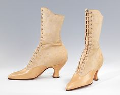 Boots - c. 1918 - by Charles Strohbeck, Inc. - Leather, cotton, silk