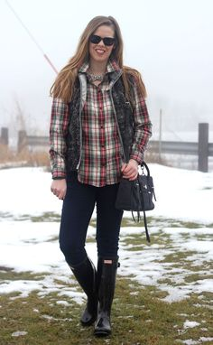 Plaid and Hunter Boots: LL Bean plaid shirt, Southern Shirt Co fuzzy vest, Loren Hope bow necklace, jeans, black Hunter boots, Rebecca Minkoff purse